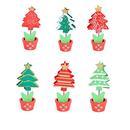 TOYANDONA 6 Pcs Mini Pinces À Linge Arbre De Noël Décoratif en Bois Pince Broche De Noël Photo Papier Artisanat Broche Clips pour Photos Carte Mémo