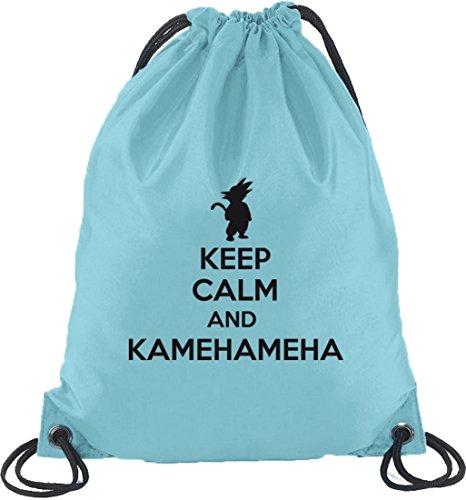 Shirtstreet24, Keep Calm And Kamehameha, Turnbeutel Rucksack Sport Beutel, Größe: onesize,Hellblau