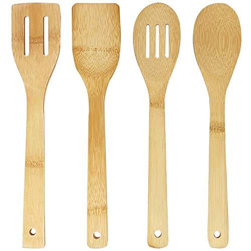 joeji's Kitchen Ustensiles de Cuisine Bois de Bambou | Ensemble Cuisine en Bois | 4 ustensiles de qualité : cuillère en Bois, spatule en Bois, cuillere en Bois & spatule Bois à égoutter