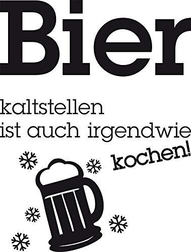 GRAZDesign Kühlschrank Aufkleber Wandtattoo Tattoo für Küche Bier kaltstellen Spruch (Größe=53x40cm//Farbe=070 schwarz)