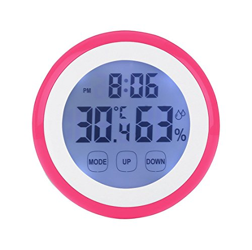 Enjoy Best Time Digital Weather Station Wall Clock with Indoor Thermometer Humidity-Mini Size Touch Screen Thermometer Hygrometer Loud Alarm Clocks For Kids-Pink