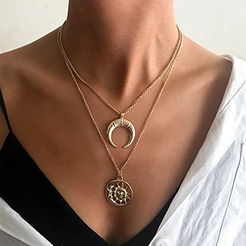 Vakkery Boho Collar con colgante de luna y sol en capas de oro nekclace, collar de gargantilla, cadena para mujeres y niñas