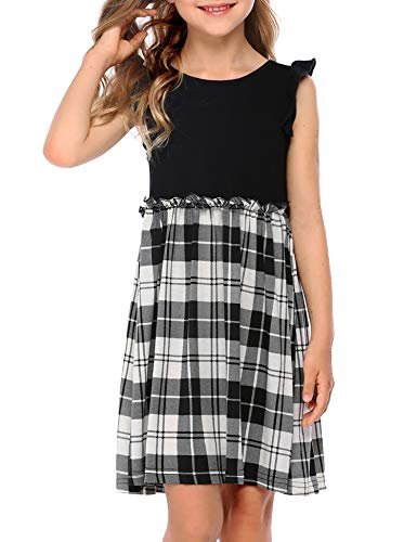 Arshiner Kids Girls Plaid Dress Casual Ruffle Short Sleeve Elastic Waist Dress Black and White for 6-7 Years