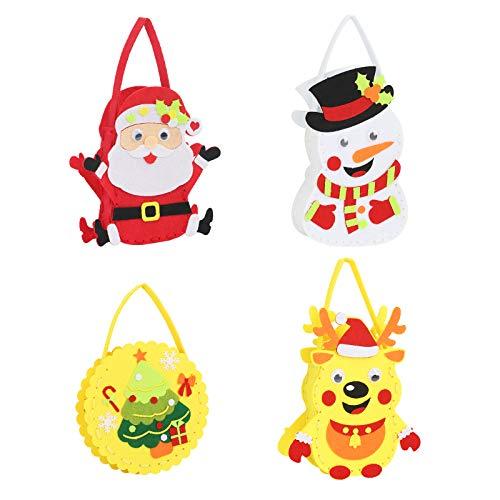 ZERHOK 8Stk Weihnachten Kinder zum Nähen Handtaschen Filz Stoff Basteln Geldbörse DIY Nähsets Elch Schneemann Filzdeko für Mädchen Party Weihnachtsgeschenk