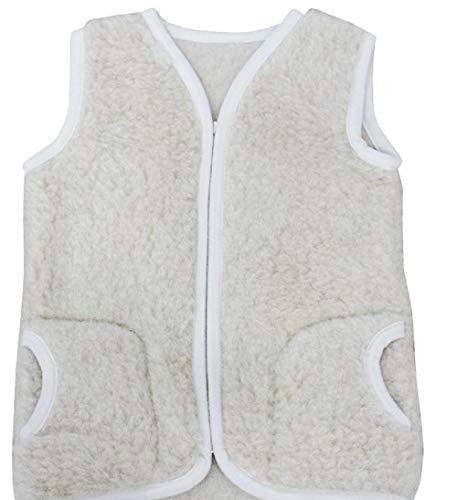 Merino Warme Babyweste Kinderweste Weste aus 100% Wolle Gr.1-3 Jahre, Farbe: beige