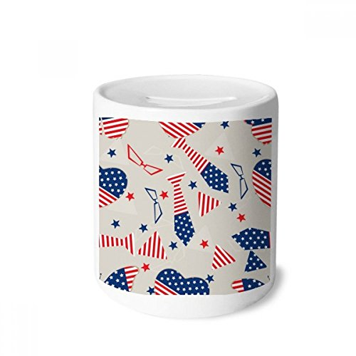 DIYthinker USA-Flaggegen-Bindung Glasstern Festival-Geld-Kasten Sparkassen Keramik Münzfach Kinder Erwachsene 3.5 Zoll in Height, 3.1 Zoll in Duruchmesser Mehrfarbig
