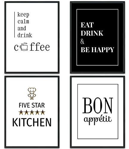 MUUDLY Premium Poster Set, Moderne Wandbilder mit Sprüchen als Wohnzimmer und Schlafzimmer Deko, Sprüche und Zitate, 4 x DIN A4 Bilder (Küche, ohne Rahmen)