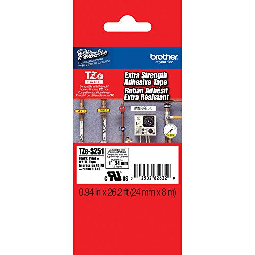"""Brother Genuine P-touch TZE-S251 Tape, 1"""" (0.94"""") Wide Extra-Strength Adhesive Laminated Tape, Black on White, Laminated for Indoor or Outdoor Use, Water-Resistant, 0.94"""" x 26.2' (24mm x 8M), TZES251"""