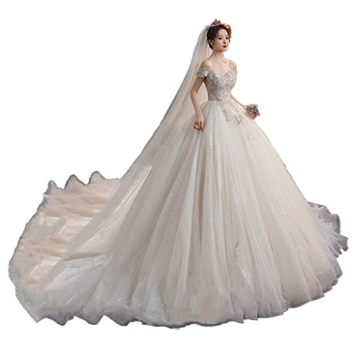 Womens Formal Wedding Dress Elegant Off Shoulder Bride Tulle Skirt Bridal Floral Lace Embroidery Prom Gowns Pretty Gown (Color : White-Tailing, Size : Large)