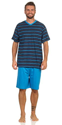 Herren Shorty Schlafanzug Gr. 54-56/XL, Navy gestreift V-Ausschnitt Baumwolle Kurze Hose