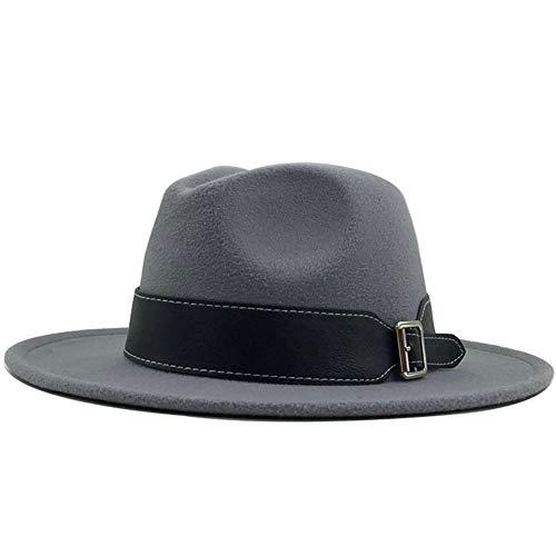 QQSA Sombrero de fieltro para mujer de otoño y invierno, sombrero de lana para hombre y mujer, sombrero de jazz, para bolos, para exteriores, vintage, talla L (color: gris claro, tamaño: 56 58 cm)