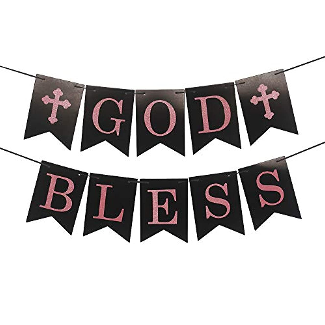 God Bless Banner Sign in Rose Gold Black for Christmas Graduation Family Party Decorations