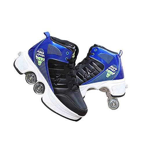 Wedsf Quad Skate rolschaatsen, Skating, 2-in-1, multifunctionele deformatie, schoenen, outdoor, sportschoenen, volwassenen, outdoor, sport, Lazy Travel,38