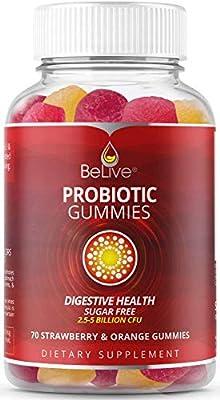 Probiotic Sugar-Free Gummies for Kids & Adults for Gut Health, 5 Billion CFU Per Serve - 70 Strawberry & Oranges Gummy