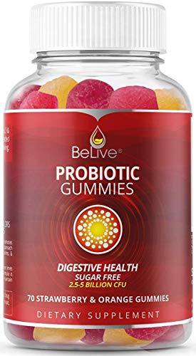 Probiotic Sugar-Free Gummies for Kids & Adults for Digestive Health, High Potency Vitamins Supplement, For Better Digestion and Gut Health, 5 Billion CFU Per Serve - 70 Strawberry & Oranges Gummy