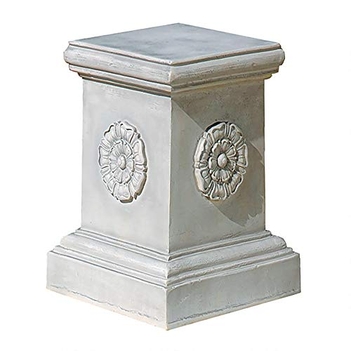 Design Toscano English Rosette Sculptural Garden Plinth Base Riser, Grande 20 Inch, Polyresin, Antique Stone