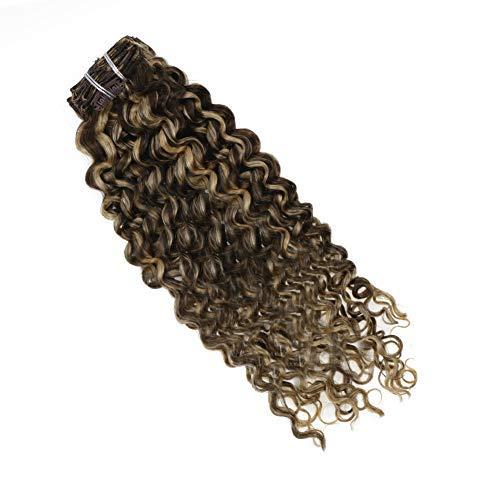 LaaVoo 10Pulgadas Clip in Extensiones de Cabello Ondulado Natural #P4/27 Marrón Oscuro con Caramelo Rubio Clip Hair Extensions Dip Dye Clip in Human Hair