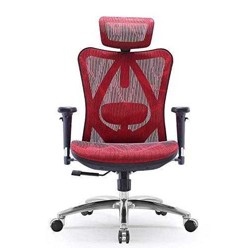 SIHOO Ergonomischer Bürostuhl, Chefsessel mit 3D verstellbare Armlehne und Lendenwirbelstütze, Hautfreundliche Netz-Hochlehne, Schreibtischstuhl bis 150kg/330LB Belastbar, Rot
