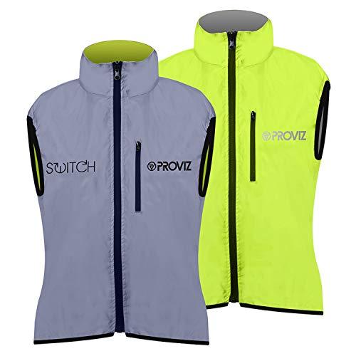Proviz Switch - Gilet de Cyclisme réfléchissant pour Femme - Argenté/Jaune, Taille 38 44 Argenté/Jaune