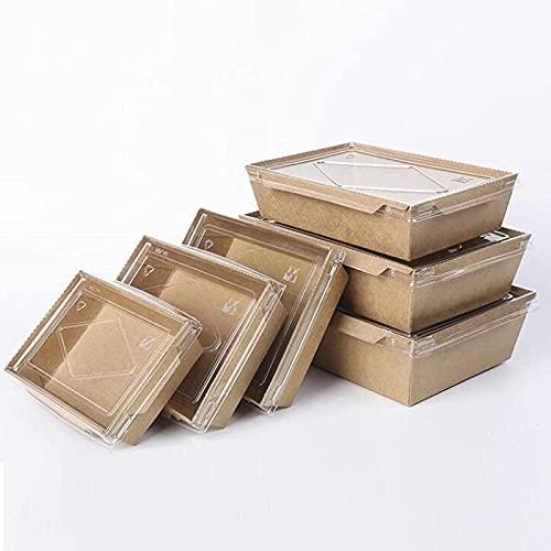 50 Pcs Conteneur En Papier Kraft, Nourriture à Emporter Carton, Anti-fuite, Boîtes Bio Carton Biodégradable avec Couvercle Transparent, Convient pour Les Restaurants Restauration Rapide (marron),3#