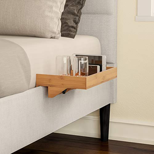 Lavish Home Bedside Shelf – Eco-Friendly Bamboo Modern Clamp-on Floating Nightstand and Bedroom...