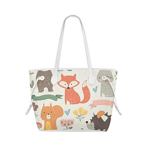 Fourre-tout sac de voyage ensemble animaux de la forêt Style de bande dessinée mignon couverture de sac à main sac à main sac grande capacité résistant à l'eau avec poignée durable