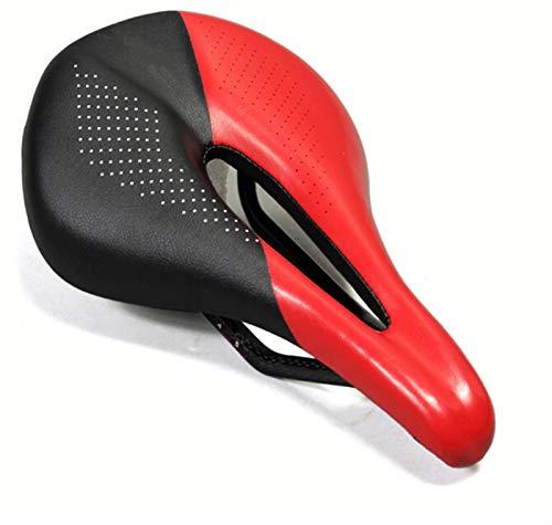 Qivor Carbono + Cuero Asiento de Bicicleta Sillín MTB Bicicleta de Carretera Sadillas Mountain Bike Racing Saddle PU PU Transpirable Asiento Suave Cojín (Color : Black and Red)