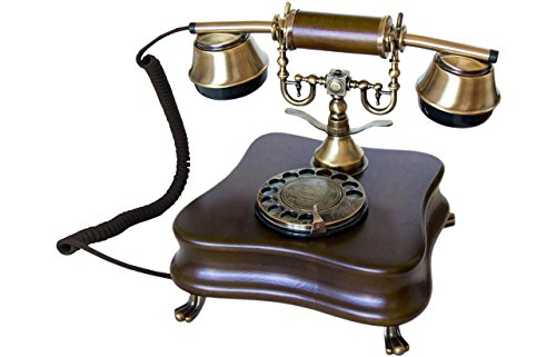 Opis 1921 Cable - Modell B - Retro Telefon aus Holz und Metall Telefon mit echter, rotierender Wählscheibe und Metallklingel