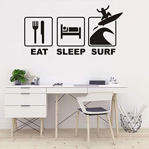 QQ400 Wandtattoo, Motiv: Surfing Sports Eat Sleep Surf Zitate, für Kinderzimmer, Wohnzimmer, 43,2 x 86,4 cm, Schwarz