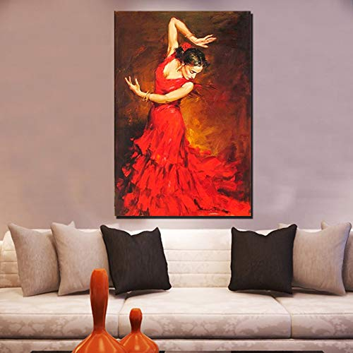 SHYHSCLBD schilderij op canvas, schilderwerk, flamenco rode jurk voor dames, grote ballerina's, kunst decoratie aan de muur voor de slaapkamer, restaurant 130 x 195 cm