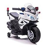 HOMCOM Moto Eléctrica Infantil de Policía Batería 6V Recargable para Niños de +18 Meses con...