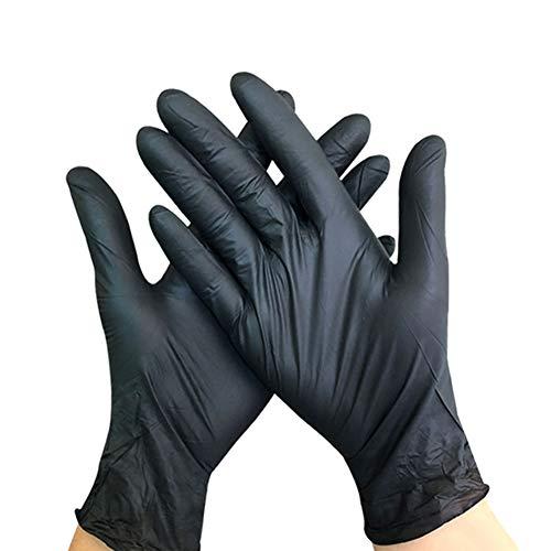 CAVEEN Desechables Guantes de Nitrilo sin Polvo L Cocina Negro Belleza 100 Piezas // 50 Pares Guantes Desechables para Limpieza