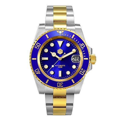 xiaoxioaguo Reloj para hombre de lujo con bisel de cerámica de zafiro para hombre, reloj mecánico automático, reloj de negocios al aire libre SunrayBlue
