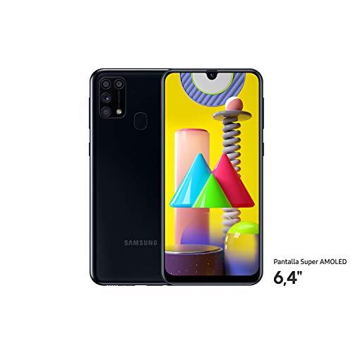"""Samsung Galaxy™ M31 - Smartphone Dual SIM, Pantalla de 6.4"""" sAMOLED FHD+, Cámara 64 MP, 6 GB RAM, 64 GB ROM Ampliables, Batería 6000 mAh, Android, Versión Española, Color Negro"""