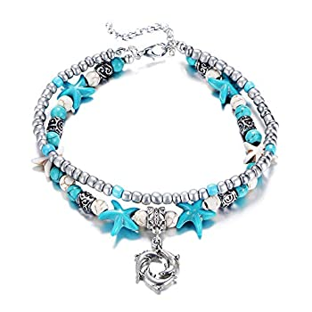 Fesciory Women Starfish Turtle Anklet Multilayer Adjustable Beach Alloy Ankle Foot Chain Bracelet Boho Beads Jewelry Dolphin
