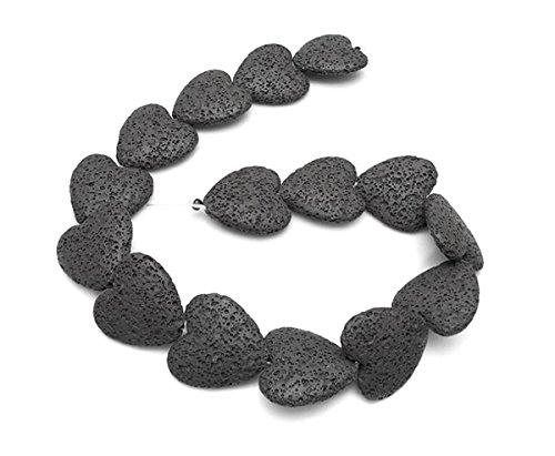 Heart-shaped Colored Volcanic Rocks Lava Stone Beads - DIY Handmade Jewelry Necklace Bracelet Earrings Accessories (Black, 20 x 20 x 8mm)