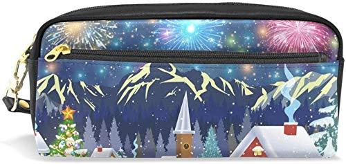Geldbörse Weihnachtsbaum Schneemann Haus Schornstein Feuerwerk Berg Bleistift Fall Bleistift Fall Doppel Reißverschluss große Make-up Kosmetik Briefpapier Aufbewahrungstasche Mädchen Junge Mädchen