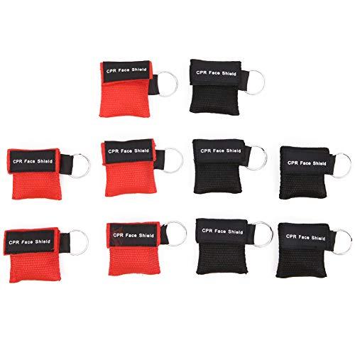 10 Stück CPR Maske Gesichtsschutz Schlüsselanhänger Ring Erste Hilfe Rettung Gesichtsschutz Maske mit Einwegventil Atemsperre (rot + schwarz)