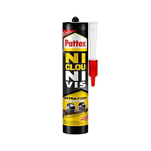 Pattex Ni Clou Ni Vis Extra Fort & Rapide, colle de fixation surpuissante, colle rapide qui permet une prise instantanée, colle blanche, cartouche 380 g