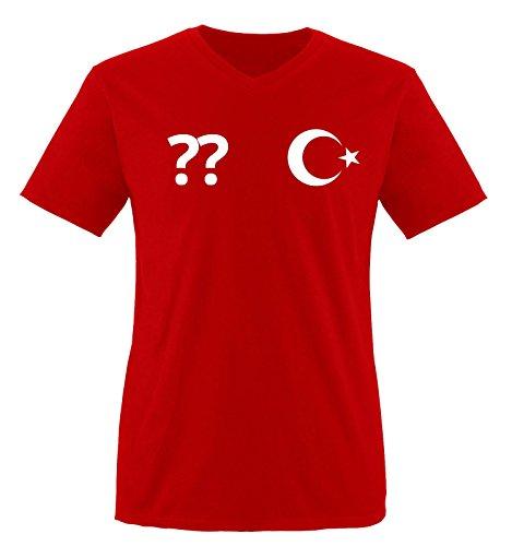 Trikot - TÜR - WUNSCHDRUCK - Herren V-Neck T-Shirt - Rot/Weiss Gr. S