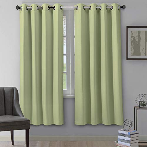 "VEEYOO Blackout Curtains Grommet Top Thermal Insulated Room Darkening Window Curtains and Drapes for Living Room, 2 Panels, 52"" W x 84"" L, Sage"