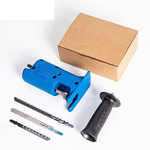 Flycoo2 - Adaptador de sierra alternativa portátil con mango ergonómico y 3 hojas de sierra, accesorio de herramienta modificado por taladro eléctrico para cortar madera y metal