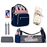 Diaper Bag Backpack (Pink/Blue) with Muslin Swaddle Blanket Bundle - 5 in 1 Multi-Functional Diaper Bag, Portable Changing Station, USB Port, Large Capacity, Comfort pad with Shoulder Straps