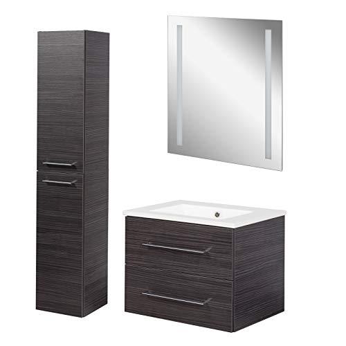 Fackelmann bruine badkamermeubelset B. Perfect 3-delig Met wastafelonderkast incl. keramische wastafel hangend 60 cm & LED-badkamerspiegel