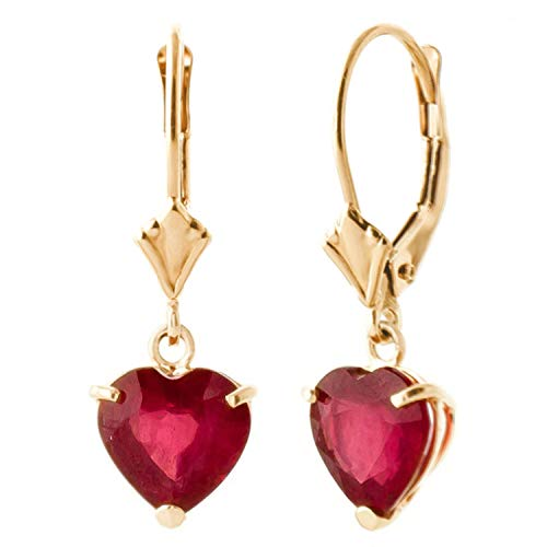 Galaxy Gold 14k High Polished Solid Yellow Gold Heart Ruby Leverback Earrings 2.9 CTW Heart Shape
