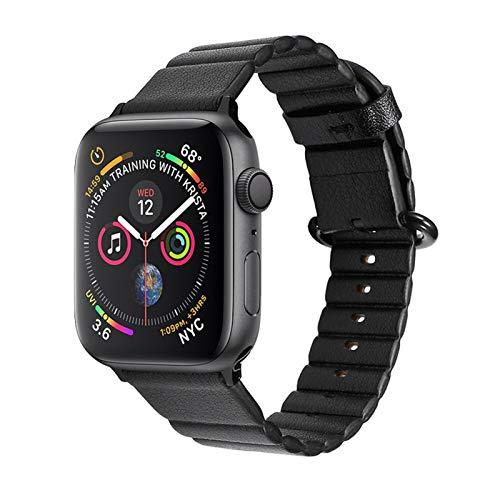 Correa de Bucle de Cuero Aplicar a Apple Watch Band 44mm 40mm Iwatch Band 42mm 38mm Apple Watch 5 4 3 Pulsera de Banda de Reloj de Cuero (Band Color : Black, Band Width : 38mm or 40mm)