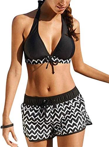 ASKSA Damen Zweiteiliger Bikini Set Push Up Pads Badeanzug Crossover Schwarz Oberteil Triangel Bademode (Schwarz, 3XL)