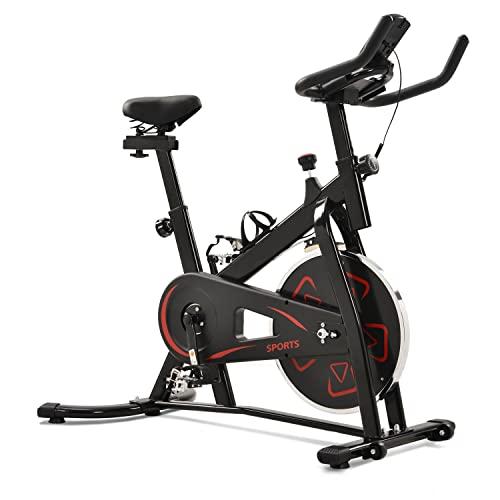 WZFANJIJ Sicicleta Estática | Bicicleta Fitness con Volante de 22 kg -Compatible con Pulsómetro - Bicicleta para Casa,Red