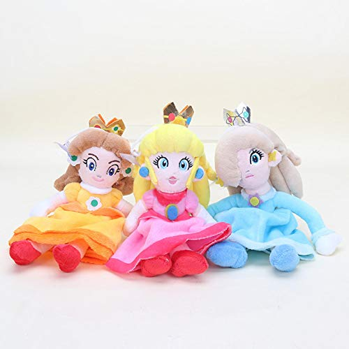 JMUNG 3 Unids / Set Super Marios Juguetes Princesa Peach Daisy Rosalina Suave Peluche De Juguete 24Cm, Muñecos De Peluche Regalos De Cumpleaños para Niños