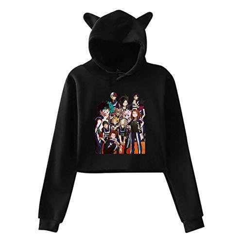Trumpinginging My Hero Academia Zuku Midoriya Todoroki Shoto Women's Cat Ear Hoodie Black